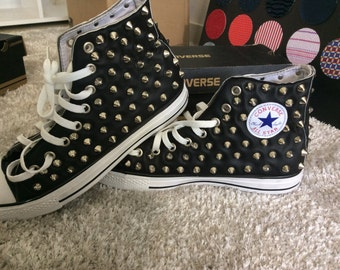Studded Black Converse Chuck Taylor All Star! Custom Shoes! Be Yourself, Free Yourself!