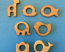 Animal Natural Wooden Teether - Elephant, Giraffe, Hedgehog, Fish, or Bird for Baby Teething
