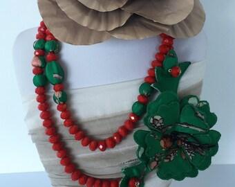 Necklace in fancy cloth-Marisa Bamaiyi Srl