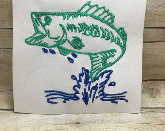 Bass Fish Embroidery Design, Bass Embroidery Design, Fish Embroidery Design