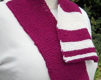 maroon and white hand knit wool  fibonacci math teaching scarf