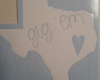 Gig 'Em Decal/Aggie Decal/College Football Decal