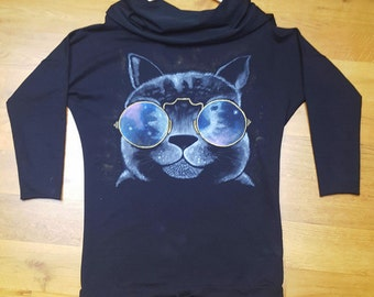 Hand painted hoodie / galaxy cat