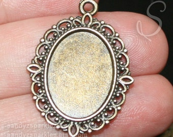 3 - Bezels, Resin Jewelry Cabochon Setting, Antique Brass Oval Cabochon Pendant Base (Cabochon size 13x18mm), SZS1231