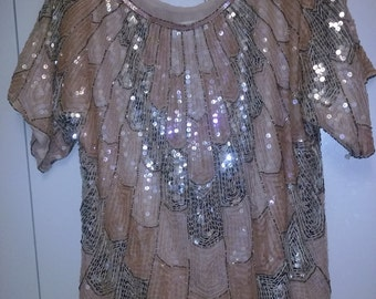 Vintage Star Group Sequined Blouse
