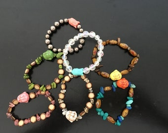 Handmade elastic buddha bead bracelet