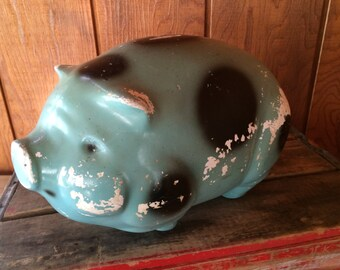 Large Vintage Chippy Shabby Chalkware Pig Bank, Blue with Black Dots, Patent No. 139 366, Plaster Pig