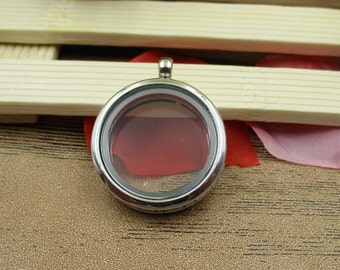 1 Round Glass Floating Locket Pendant,Openable Pendant,Memory Lockets for Necklace-TS006