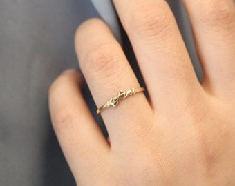 Personalized Tiny Name Ring,Custom Name Ring,Gold Name Ring,Letter Ring,Initial Gold Name Ring,Stackable name rings