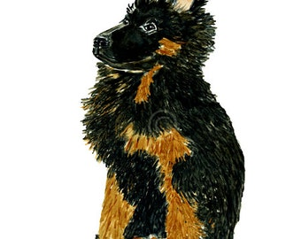 Dogwatercolor print German shepherd puppy