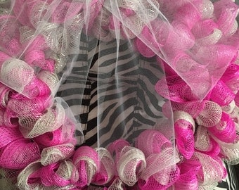 Wreath pink and silver