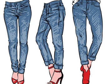 Hand drawn women's fashionable denim jeans. clipart ... - photo#29