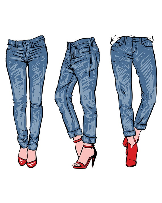 Hand drawn fashion design womenu0026#39;s jeans. clipart commercial use vector graphics digital clip ...
