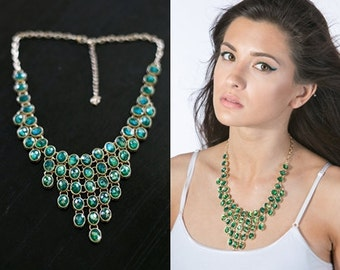 Gorgeous Emerald Bib Statement Necklace