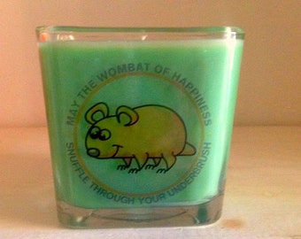 May the Wombat of Happiness Snuffle Through Your Underbrush Square Soy Candle