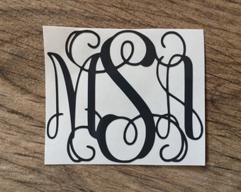 3 inch Monogram Decal / Monogram Sticker / Yeti Monogram Decal Sticker / Camelbak Monogram Decal Sticker / Laptop Decal Sticker / Car Decal
