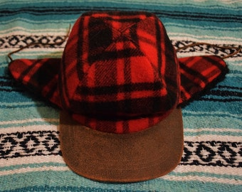 Vintage Flannel Lumberjack Red Black Hat