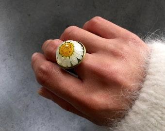 White Chrysanthemum in Antique Bronze Bezel Statement Ring, Resin Ring, Resin Jewelry, Pressed Flower Jewelry
