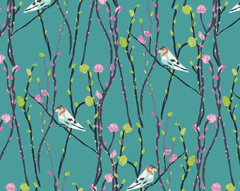 Bird Fabric | Woodpecker Print | Blue Jays | Bluebird | Floral | Teal | Blue | Pussy Willows | Modern | Unique | Pretty Bird Fabric