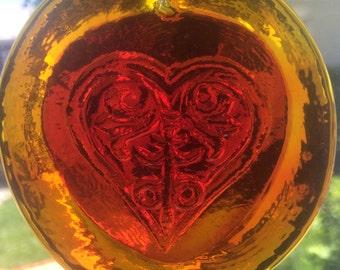 Pressed Glass Heart Sun Catcher