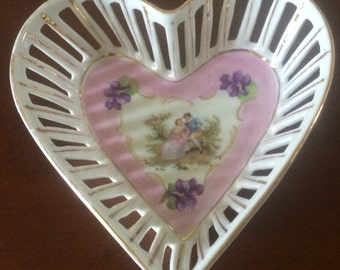 Vintage Decorative Heart Shaped Porcelain Dish