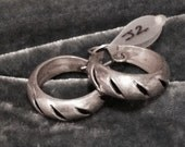 J2  Taxco, Sterling Silver, French Back, Hoop Earrings, Mexico