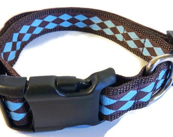 Large Blue/Brown Argyle Dog Collar
