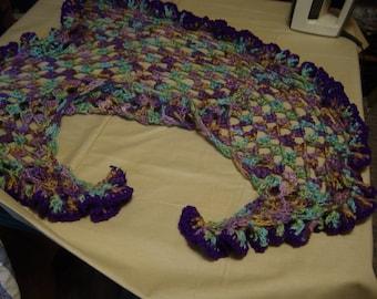 colorful varigated loose ruffled shawl