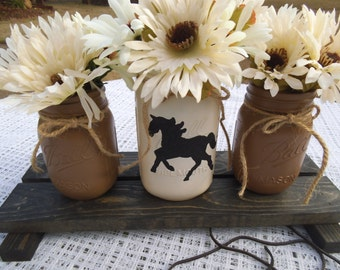 Mason Jar Centerpiece, Wood stand, Rustic, Farmhouse, horse, wedding gift, housewarming gift, table centerpieces, table decor, country chic