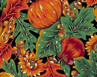 "Halloween Fabric/ Autumn Fabric : Harvest Acorns and Pumpkins Fabric 100% cotton Fabric by the yard 36""x44""  (G43)"