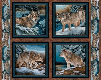 "Wild Wings Narragansett Creek Wolves Wolf Pillow Panel by Rosemary Millette  100% cotton Fabric By The Panel 36""x44"" (N497)"