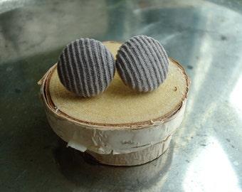 Vintage Grey Corduroy Button Earrings