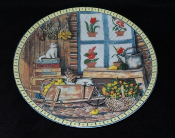 "1991 Knowles Cozy Country Corners ""Apple Antics"" Collector Plate by Hannah Hollister Ingmire"