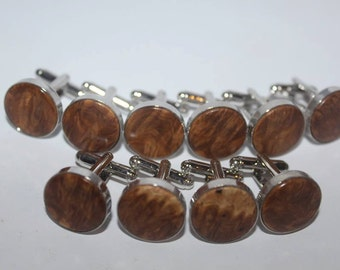 Brown mallee burl cuff links (sold as pairs)