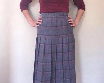 Vintage Plaid Pleated Skirt