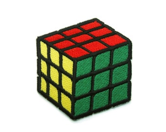 Colorful Rubik Cube Embroidered Applique Iron on Patch 6.3 cm. x 6.8 cm.