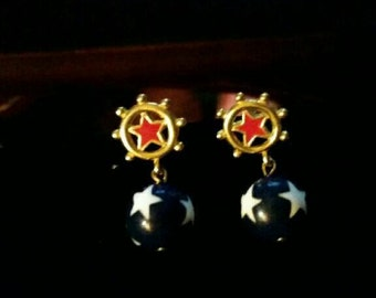 Red white & blue/4th of July dangle earrings