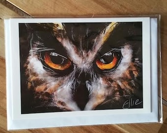 Greeting card - eagle owl