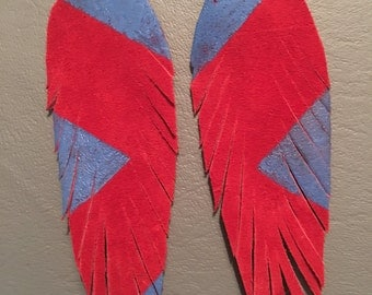 Merica red and blue leather feather earrings
