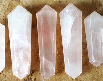 Rose Quartz Double Terminated Point  - Hand Cut Natural Stone Point for Crystal Grids or Terrarium 259