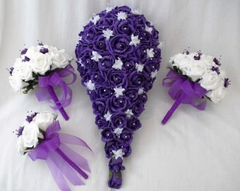 Hand-made wedding bridal artificial teardrop corsage flower bouquet set