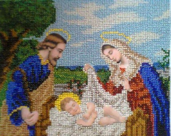 """Embroidered picture by beads """"Holy family"""""""