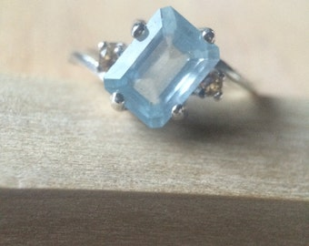 Aquamarine and Orange Sapphires Set in Sterling Silver Ring Sz 7