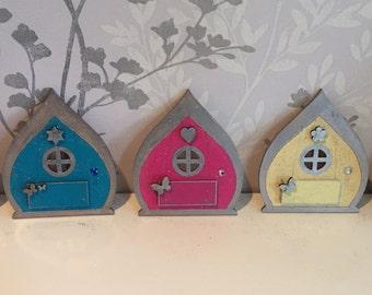 Personalized Gift for kids Blue turquoise yellow pink purple fairy door pixie door elf door UK seller stocking filler s