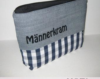 """Man stuff"" bags, plaid / jeans"