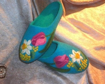 Woman Blue Wool Felt Flower Slipper Vegetarian Ocean Shoe Bedroom Flats Mimosa Tulips Gift Woolen Felted Clogs Shoes Women St Patricks Day