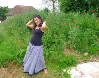 Flow Skirt , dancers skirt , gypsy, skirt, Leaf print black and white  summer skirt,