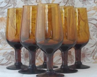 Set of six retro 1970's stemmed amber sherry glasses