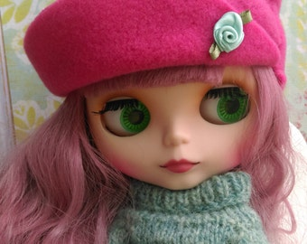 Pink fleece and flower Blythe Hat or tangkou doll hat
