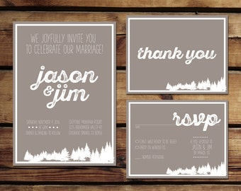Mountain Wedding Invitation Package  | Wedding Invitation | Thank You | Engagement Announcement | Save the Date | Digital Download